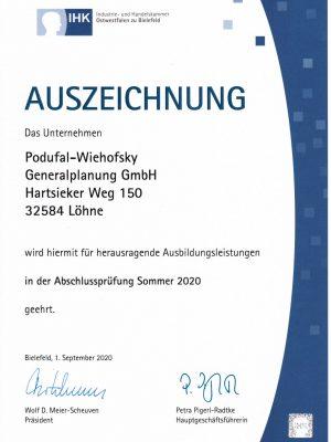 PODUFAL-WIEHOFSKY_Generalplanung_IHK-Auszeichnung_Ausbildungsleistung_2020